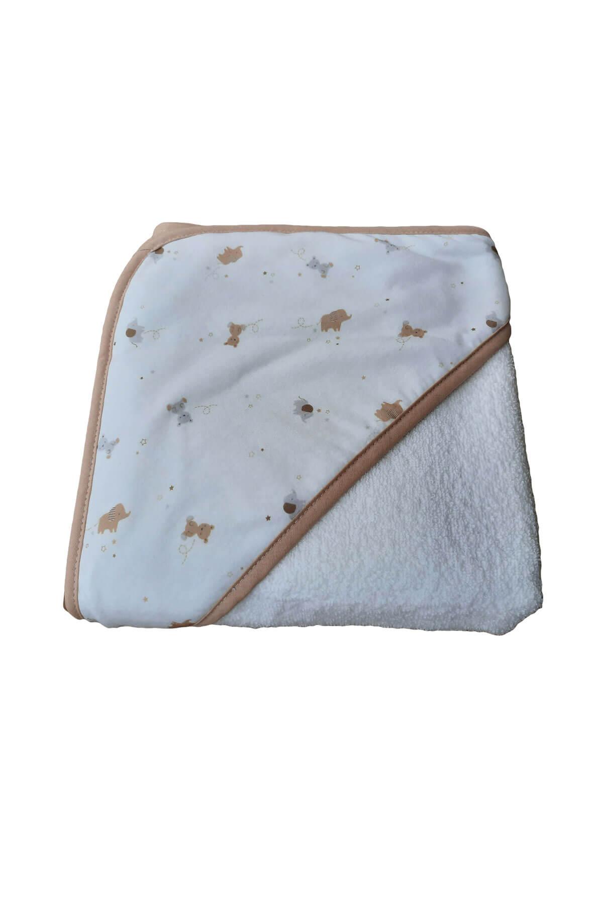 Bebek Kundak Banyo Havlusu Ayıcık Desenli Bebek Havlusu 75x75
