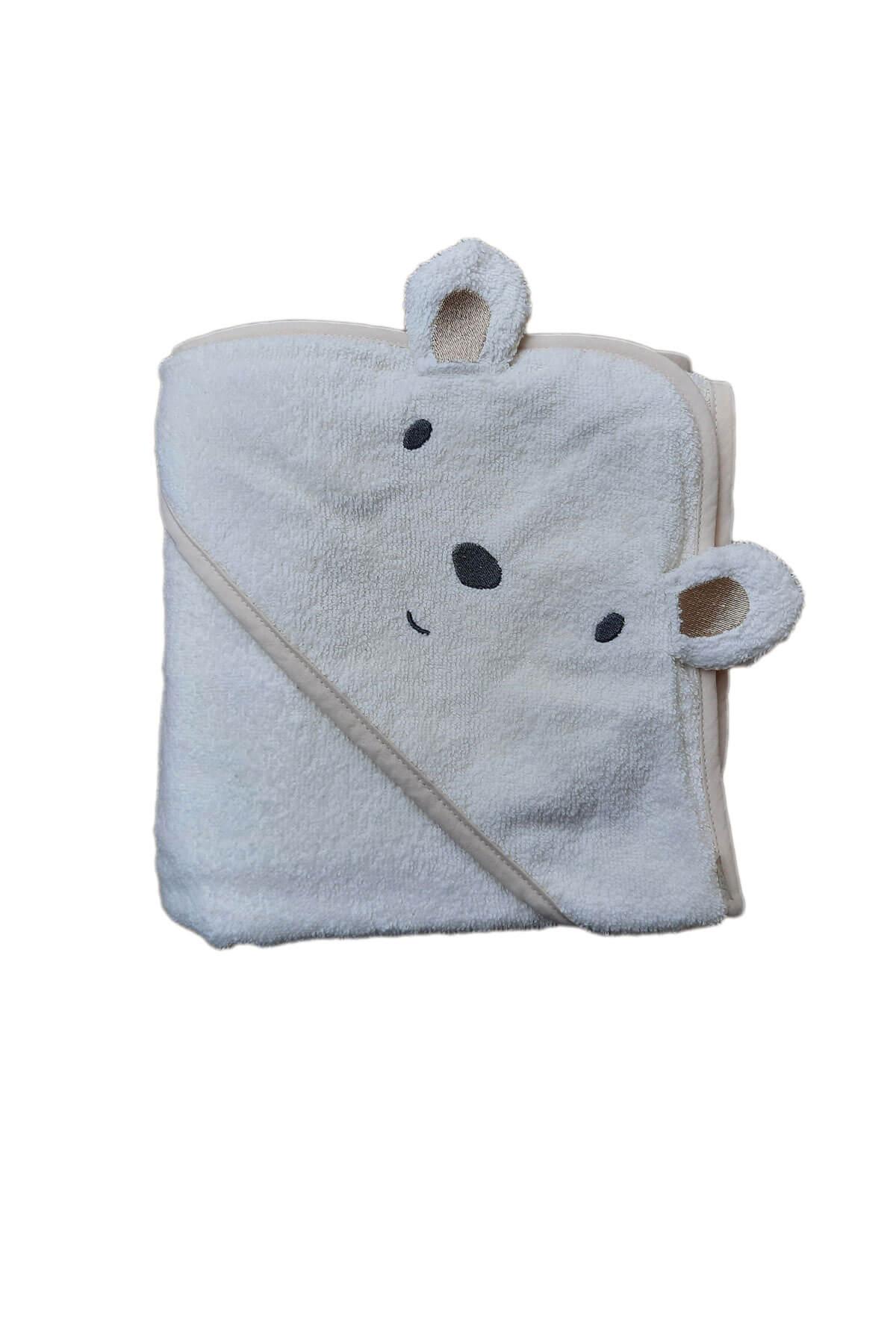 Bebek Kundak Banyo Havlusu Kulaklı Kapşonlu Bebek Havlusu 75x75