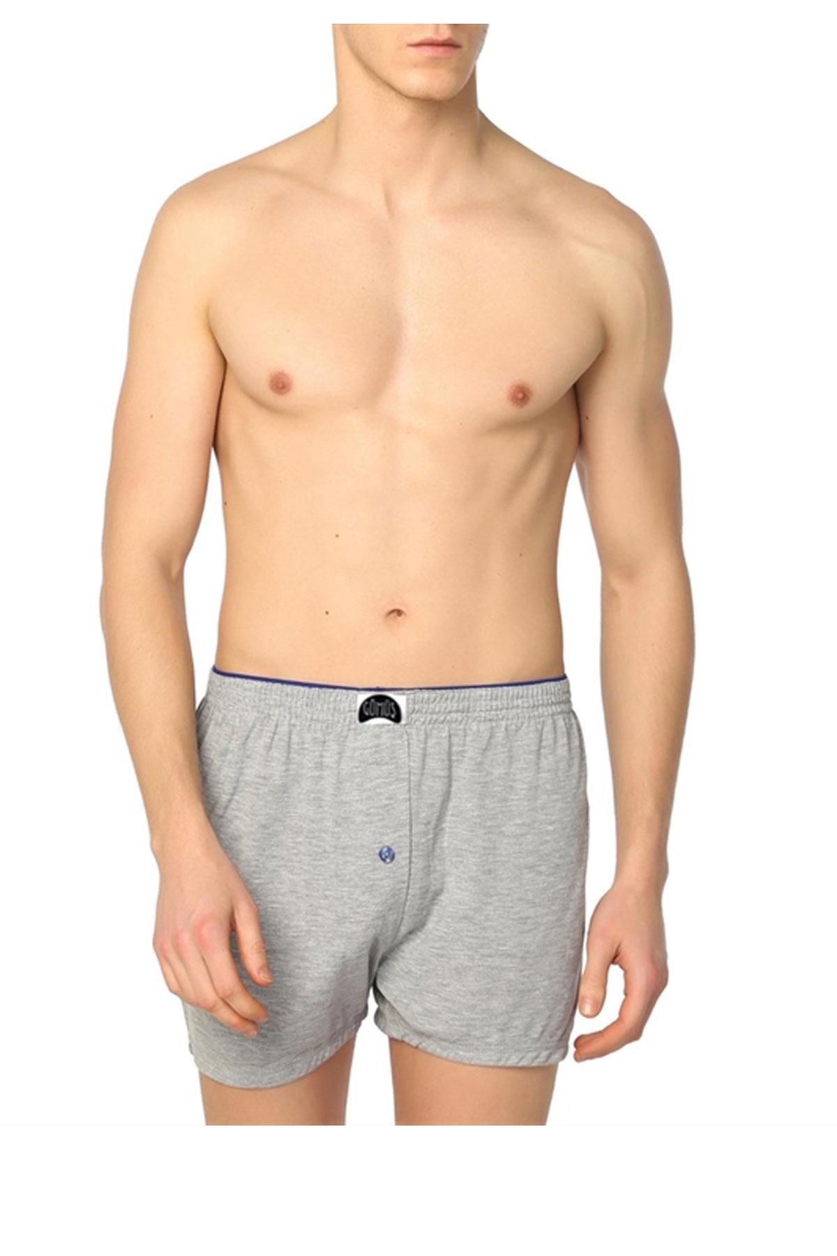 Gümüş İç Giyim Düğmeli Erkek Boxer 6 Lı Paket