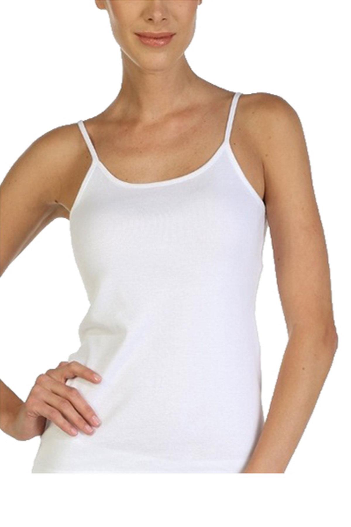 Gümüş İç Giyim Kadın İp Askılı Ribana Bayan Atlet 6 lı Paket