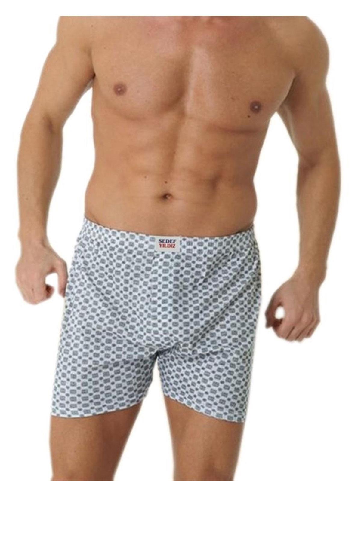 Sedef Yıldızı İç Giyim Erkek Desenli Pamuklu Boxer Don