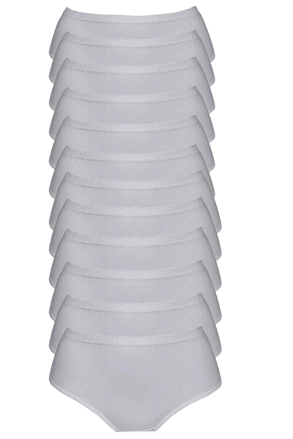 Tutku İç Giyim Kadın Yüksek Bel Bato Külot 12li Paket Rahat Form
