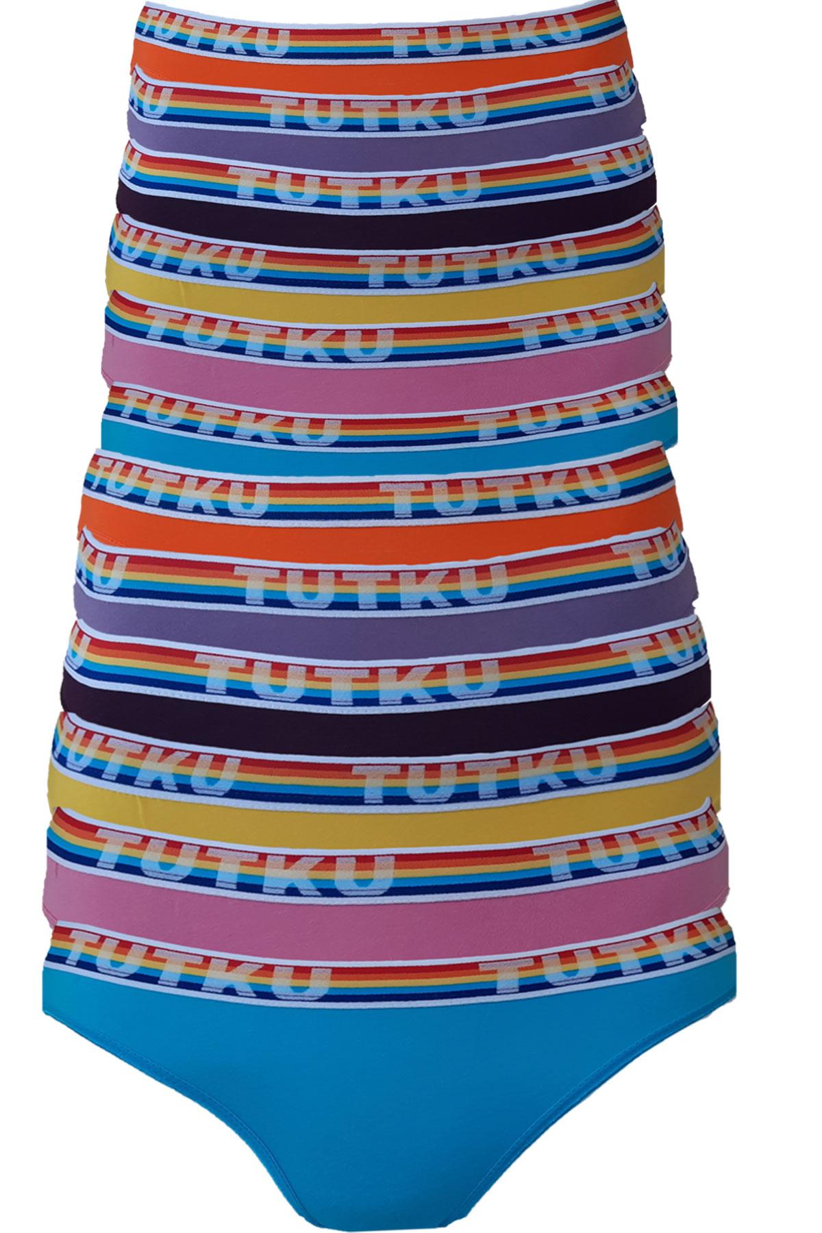 Tutku Kadın Bikini Külot Pamuklu Renkli İç Çamaşırı 12li Paket