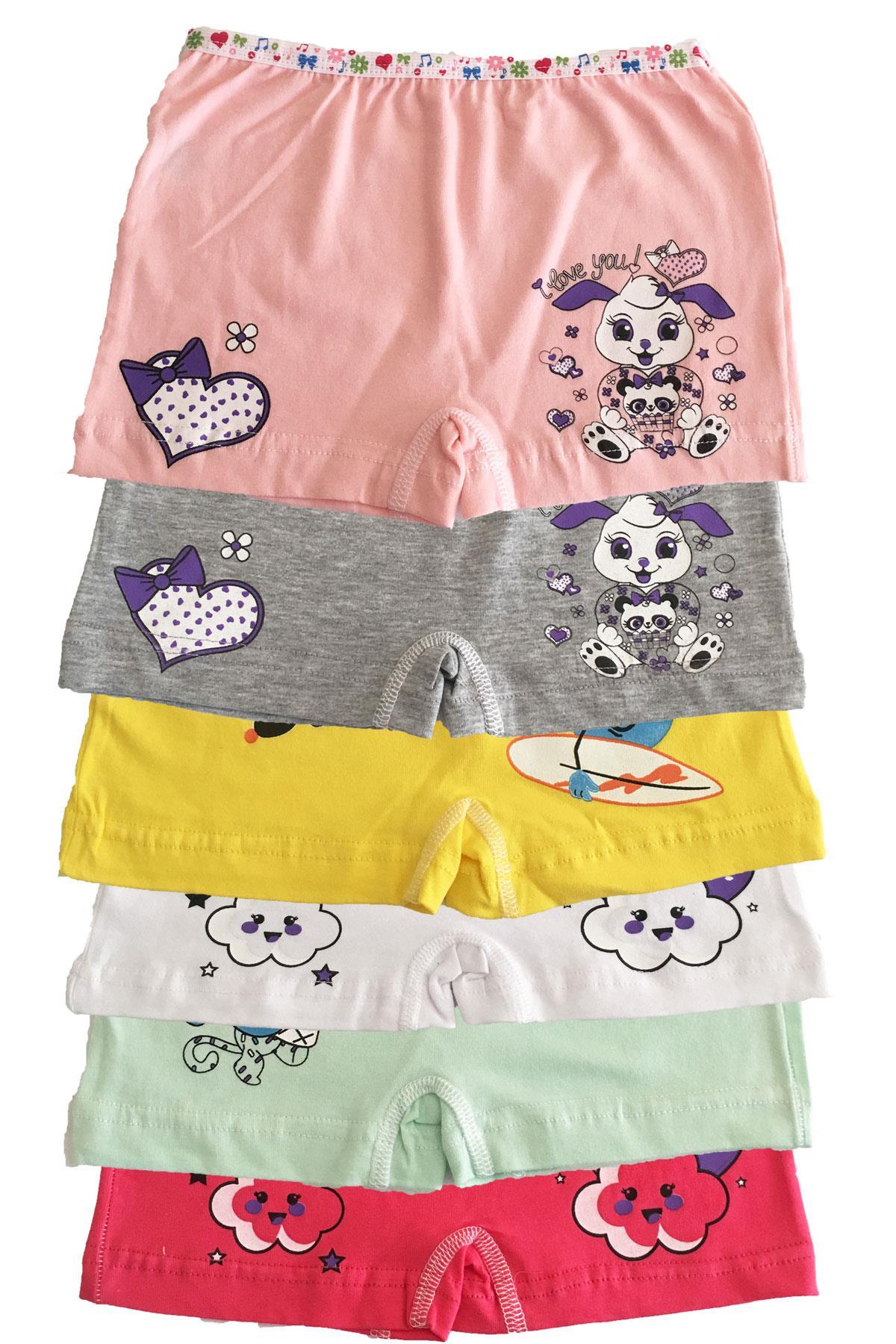 Tutku İç Giyim Kız Çocuk Renkli Likralı Pamuk Boxer Külot 6 lı Paket